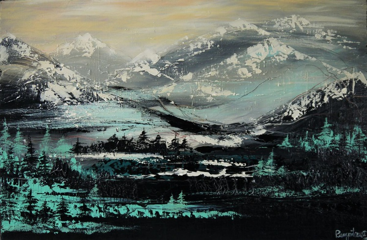Misty Mountain Peaks - 90cm x 60cm, ready to hang - Image 0