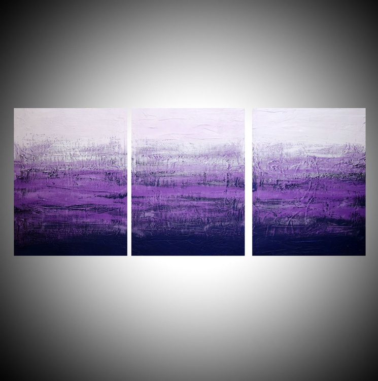 """triptych 3 panel wall art colorful images """"Purple Triptych"""" 3 panel canvas wall abstract canvas pop abstraction 48 x 20 """" other sizes available - Image 0"""