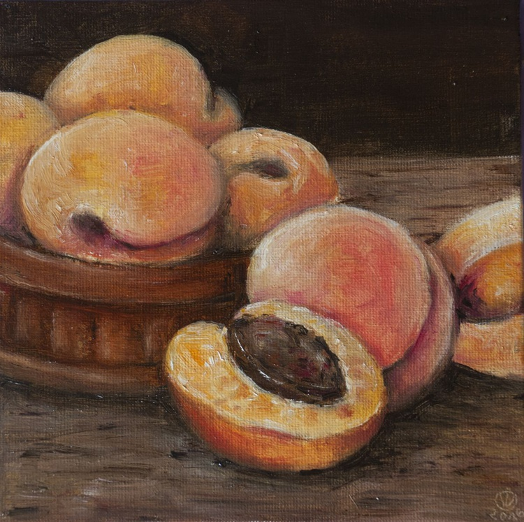 Apricots (15x15cm) original oil painting little still life realistic vintage style small gift kitchen decor - Image 0