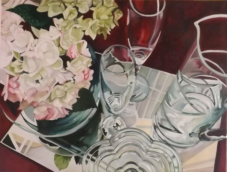 Glass Reflections with Hydrangeas 2 - Image 0