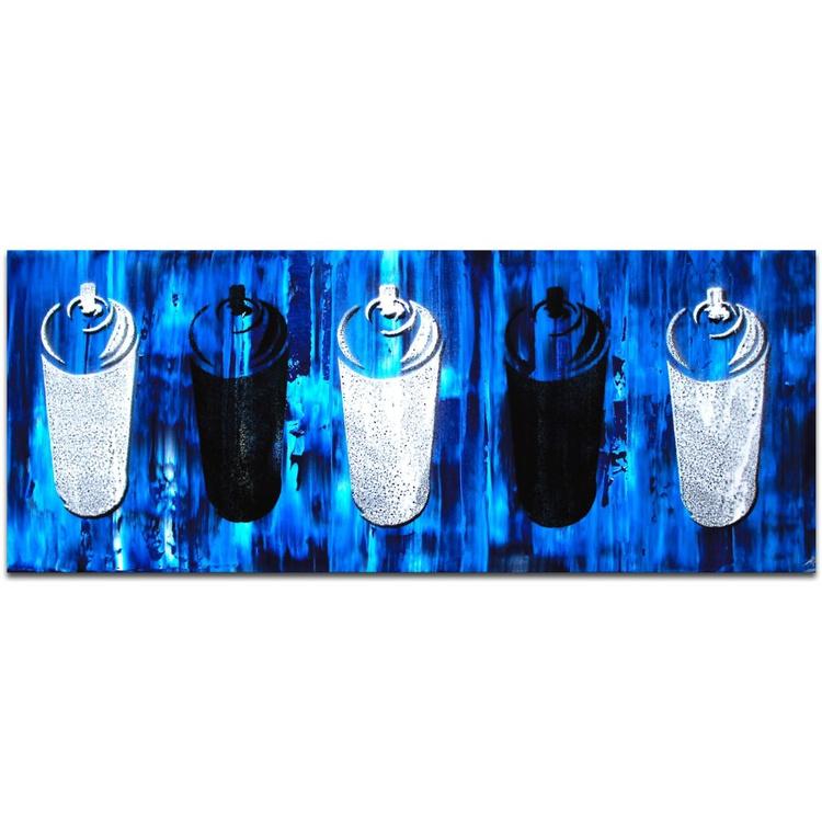 Mendo Vasilevski 'Graffiti Homage in Blue' Contemporary Acrylic Wall Art Giclee - Image 0