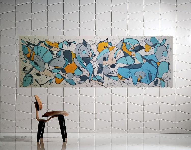 "67''x 23,5""( 170x60cm), Galaxies 2 Landscape,  orange painting , canvas art, home painting blue painting - Image 0"