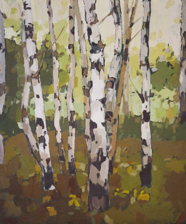 Birches Grove Original oil painting on Canvas One of a kind Handmade artwork - Image 0