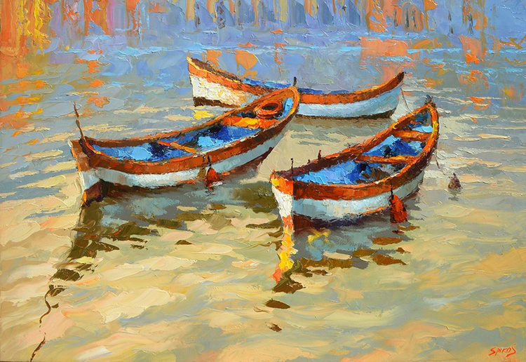 Boats in the sunset. 100cm x 70cm, oil, canvas, 2016, Dmitry Spiros - Image 0