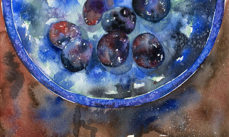 Original Framed Watercolour Painting of Plums in Canterbury Pottery Bowl - Image 0