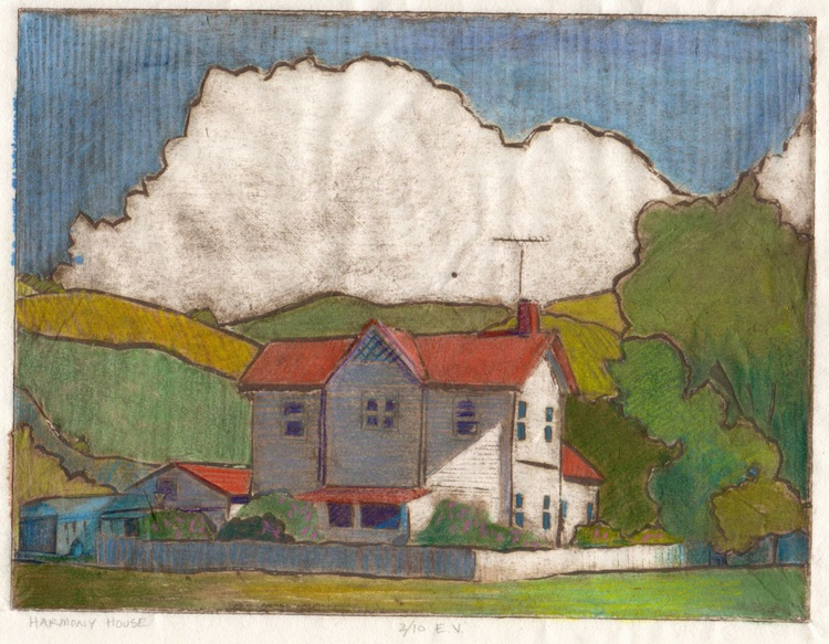 Harmony House (framed collagraph) - Image 0