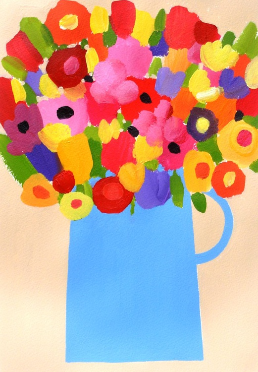 Summer Flowers in a Blue Jug - Image 0
