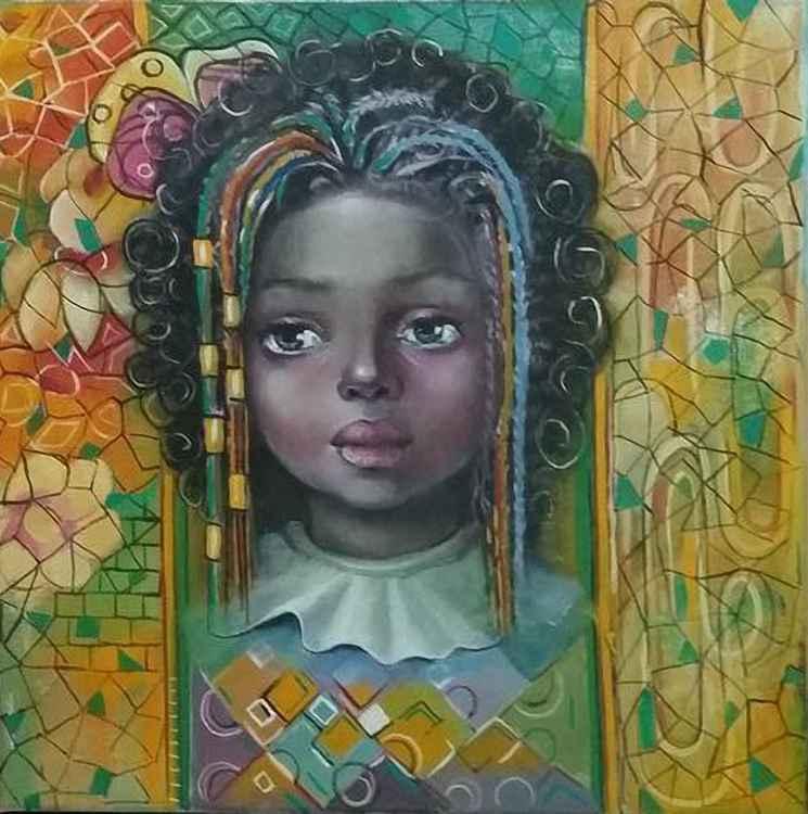 African Child Portrait Painting - 40x40cm
