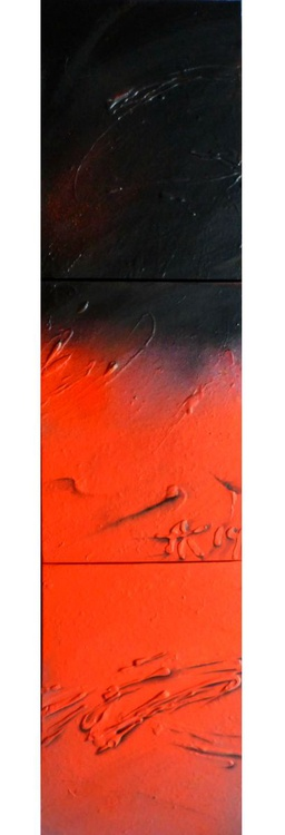 From black to red. Abstract triptych 30x120 cm - Image 0