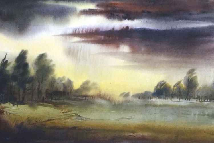 Monsoon Rural Landscape - Watercolor painting -