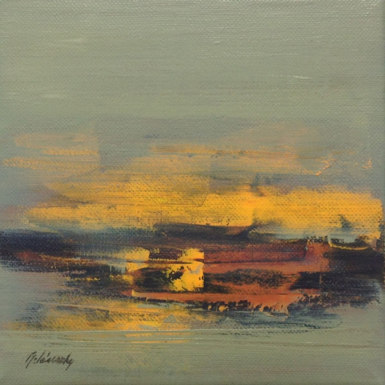 Hidden Memories - 20 x 20 cm, abstract landscape oil painting, grey, brown, yellow - Image 0