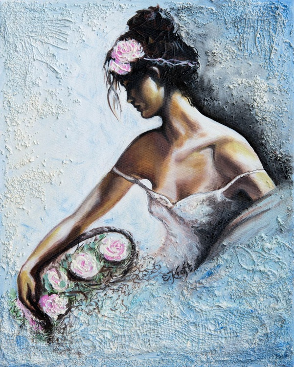 """""""Flower girl"""",Original mixed media painting on canvas 40x50x2cm - Image 0"""
