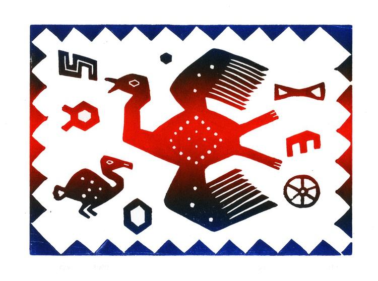 Peru Flying Bird Linocut Hand Pulled Original Relief Print Edition of 30 - Image 0