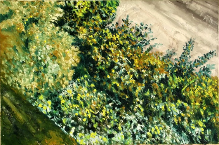 Green Foliage (Corner from my home city) - A side view from my country - Green Lebanese nature (60x40cm) - Image 0