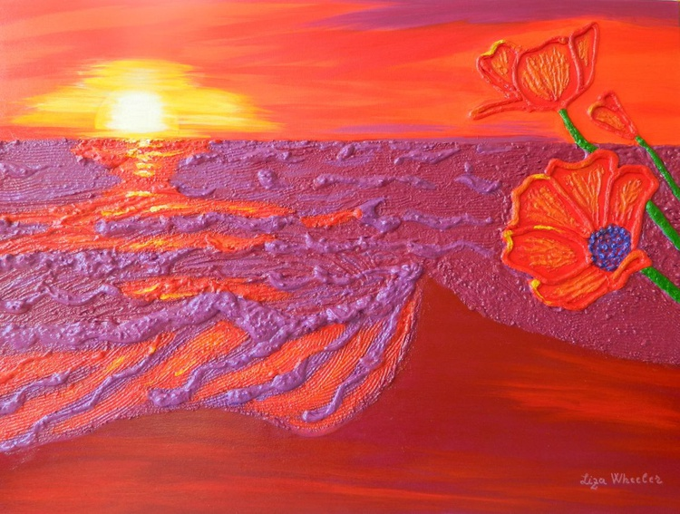 Poppies at Dawn - modern surrealistic seascape floral impasto painting - Image 0