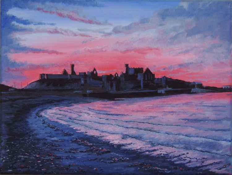 Sunset Peel Castle - Isle of Man -