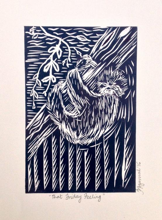 That Friday Feeling: Lazy Sloth, Handmade Linocut - Image 0