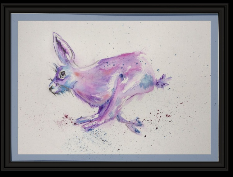 """Hop, Skip & Jump"" (Hare) 11 X 15 inch watercolour mounted ready to frame - Image 0"