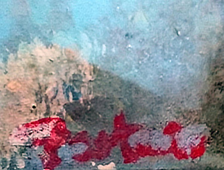 """Swallow Over City"" - Close-up detail (signature)"