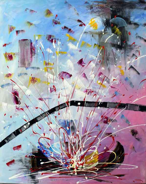 Battle Cries - Abstract Acrylic Art Painting - 28x35 inch, 2015  [Discounted Sale] -