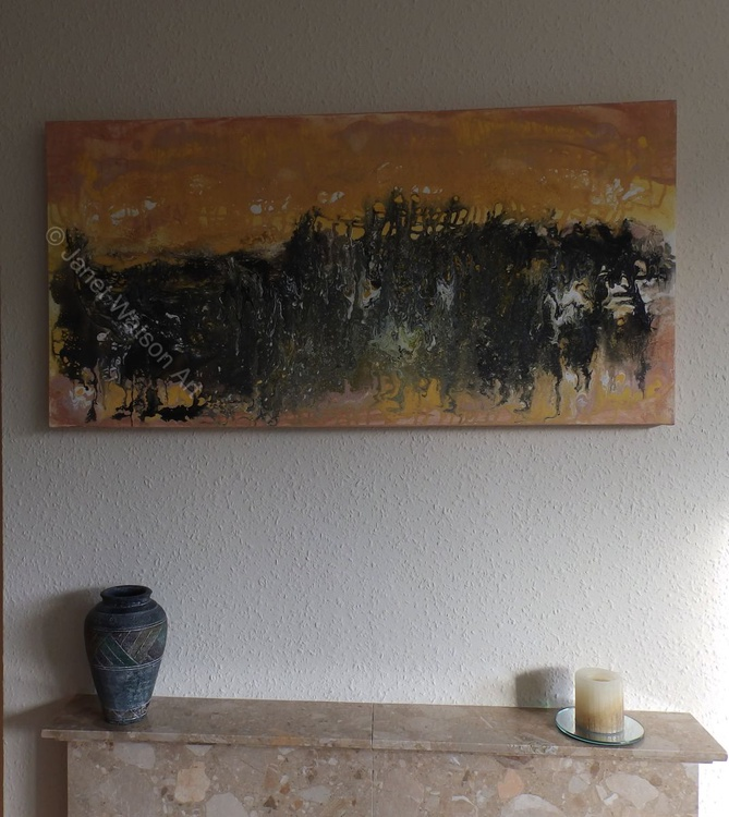 Sandstone Marble, Abstract, Acrylic & Mixed Media, Canvas over Wood, Size 50x100cm, Underground Caves Collection by Janet Watson - Image 0