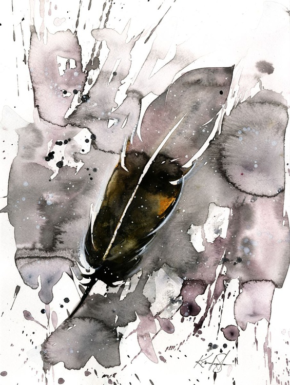 Watercolor Feather 5 - Abstract Feather Watercolor Painting - Image 0