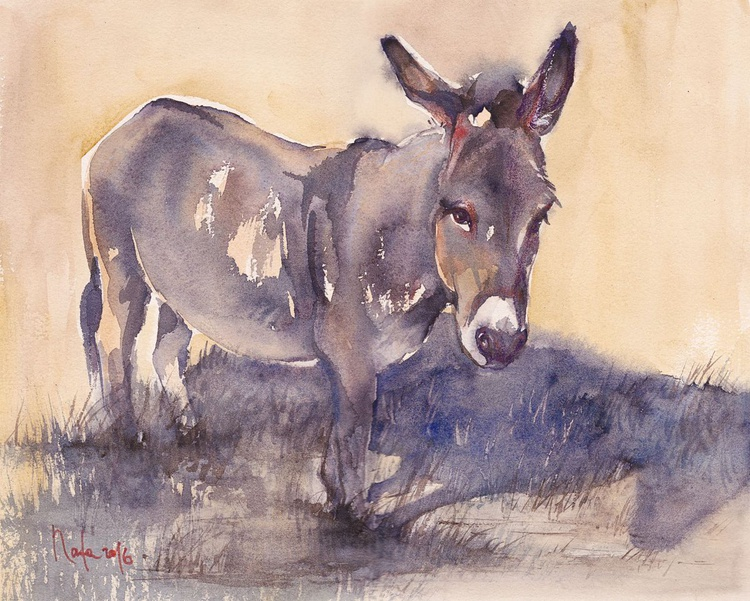 Sad Donkey in October /Framed/ Ready to hang/ - Image 0