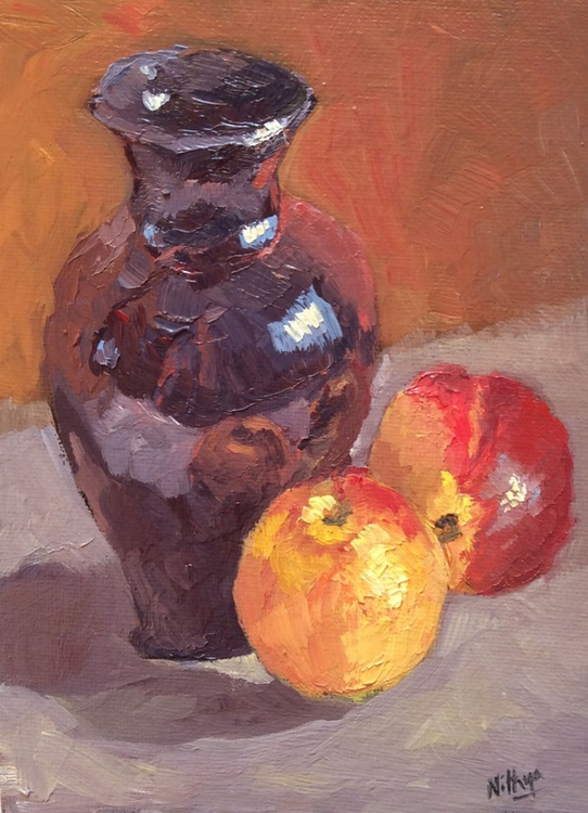 Vase and Nectarines Again!- Original Still Life - Image 0