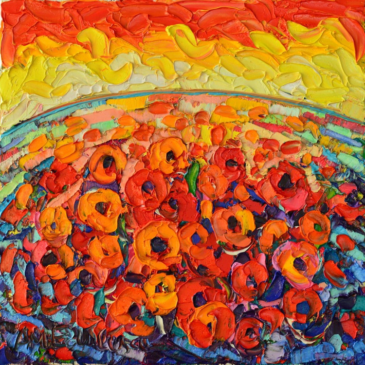 ABSTRACT FLORAL - SEA OF POPPIES AT SUNSET - Image 0