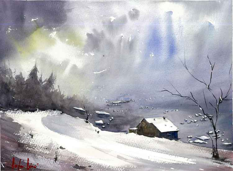 silence of the winterland watercolor painting -