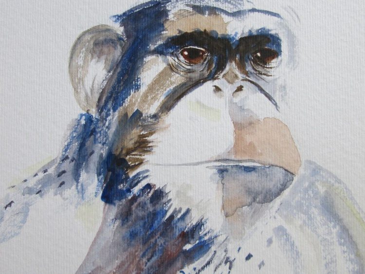 """CHIMP WITH ATTITUDE"", Monkey Jungle Animal and Friend, Original watercolour - Image 0"