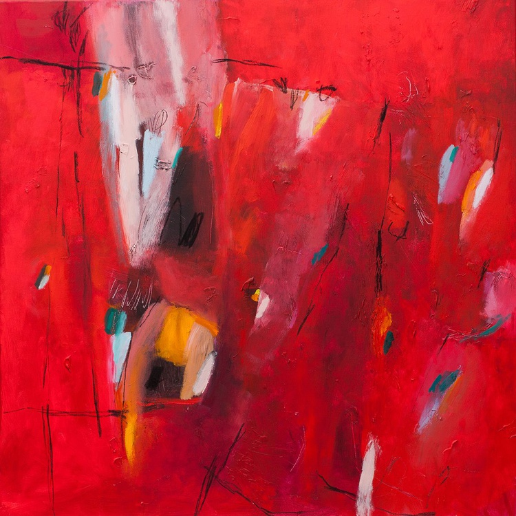Red Dress 03 (80x80 cm, Acrylic Abstract, Ready to Hang) - Image 0