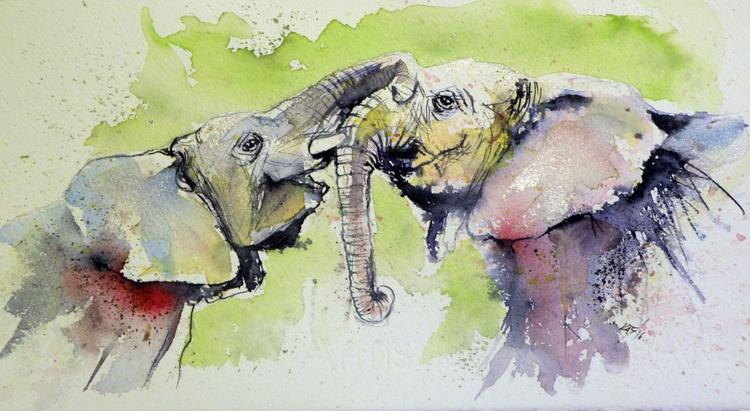 Elephants in silver - Image 0