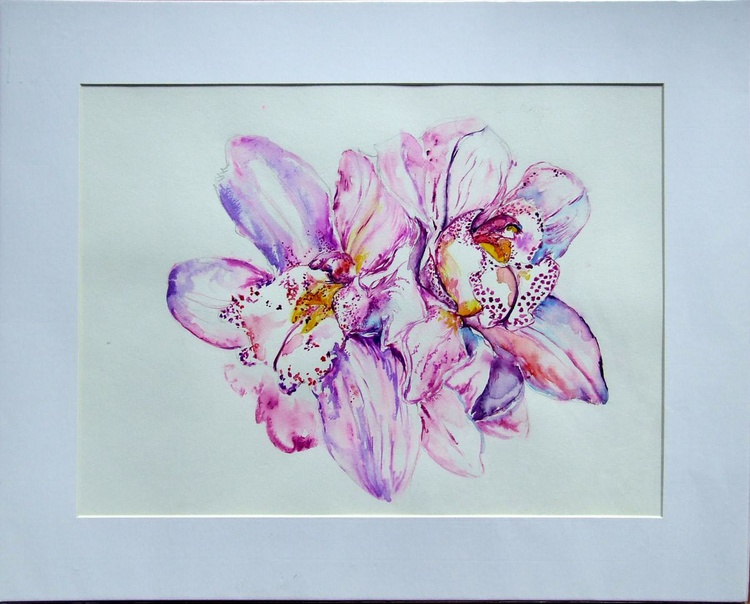 """Original Watercolour Orchids """"Pink flowers"""" in mountboard - Image 0"""