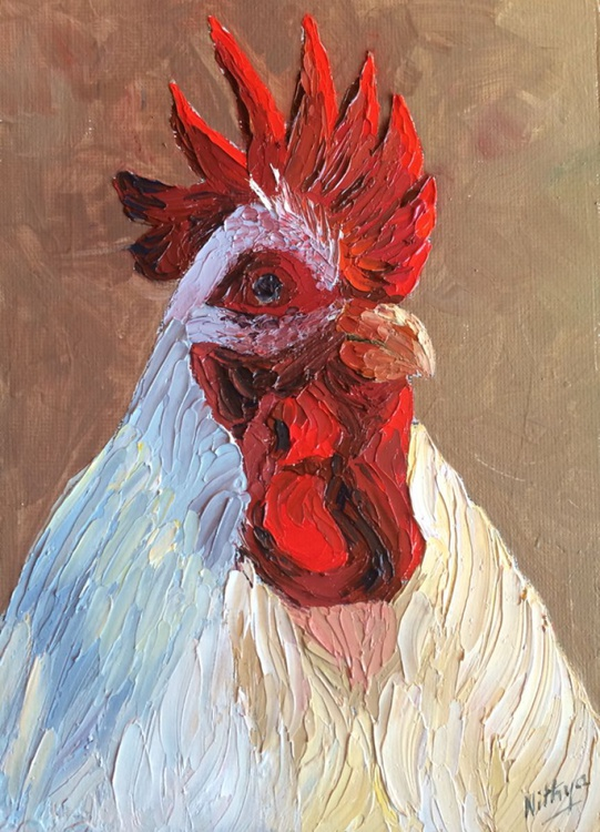 Rooster #2 - Textured Portrait in Oils - Image 0