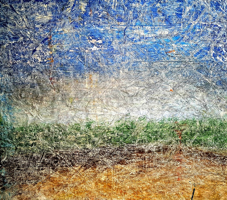 The flag of my country (n.236) - abstract landscape - 84 x 74 x 2,50 cm - ready to hang - acrylic painting on stretched canvas - Image 0