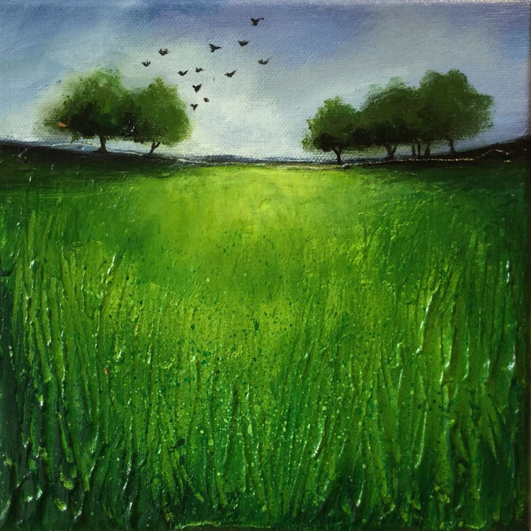 Green trees with birds - Image 0
