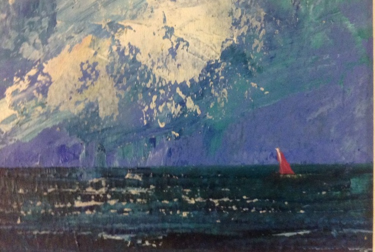 Red sail into the wind (framed original) - Image 0
