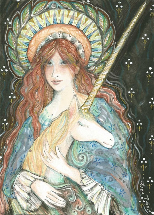 The unicorn and the maiden original unicorn painting in mixed media - Image 0