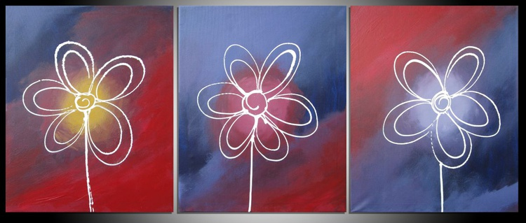 flower original abstract painting art canvas - 48 x 20 inches - Image 0
