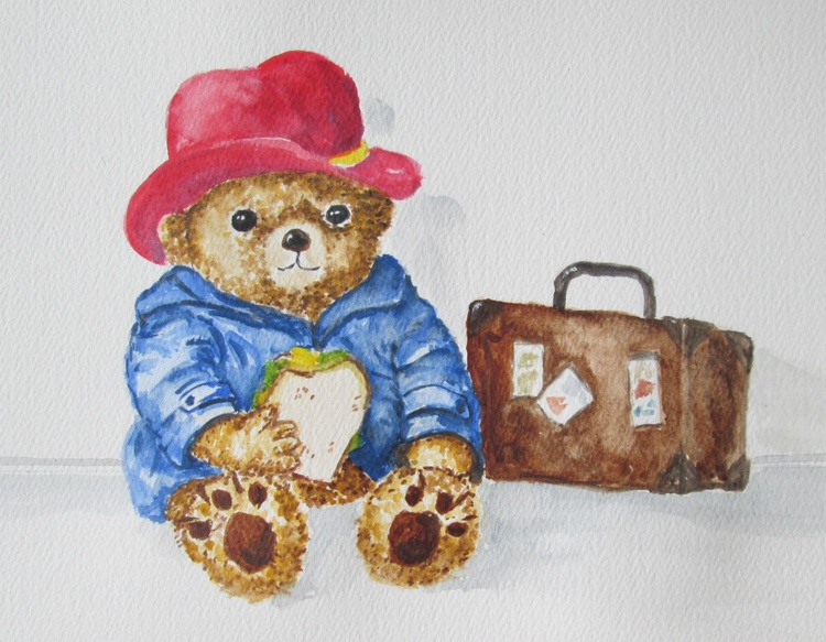 """""""NO MARMALADE?"""", Teddy Bear with sandwich, gift for children, original watercolour - Image 0"""