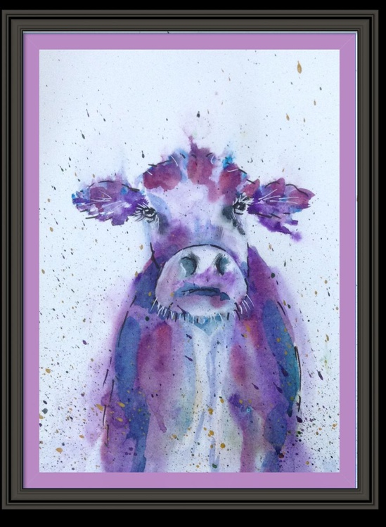 """Grumpy Old Moo"" 11 X 15 inch watercolour and ink, mounted ready to framer - Image 0"