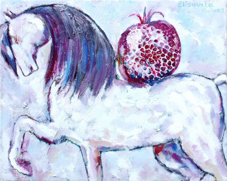 WHITE HORSE WITH POMEGRANATE - Image 0