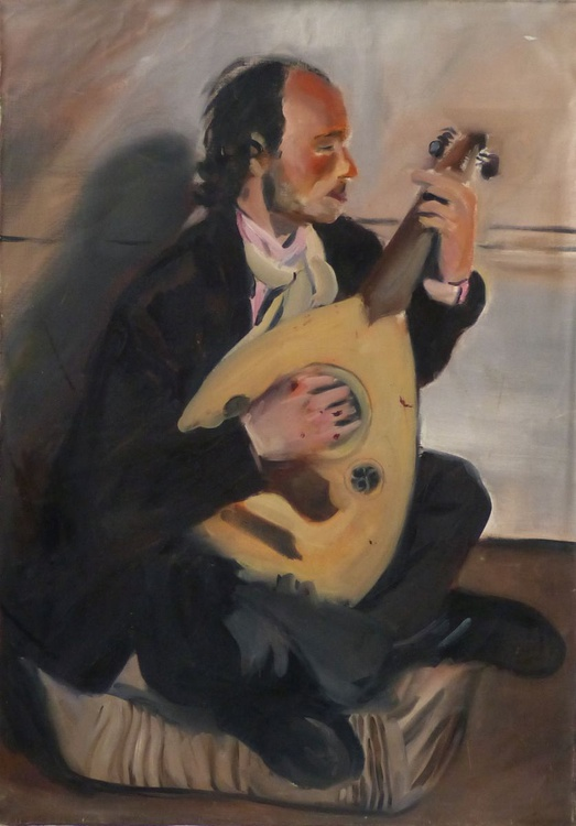 Lute Player, oil on canvas 92x65 cm - Image 0