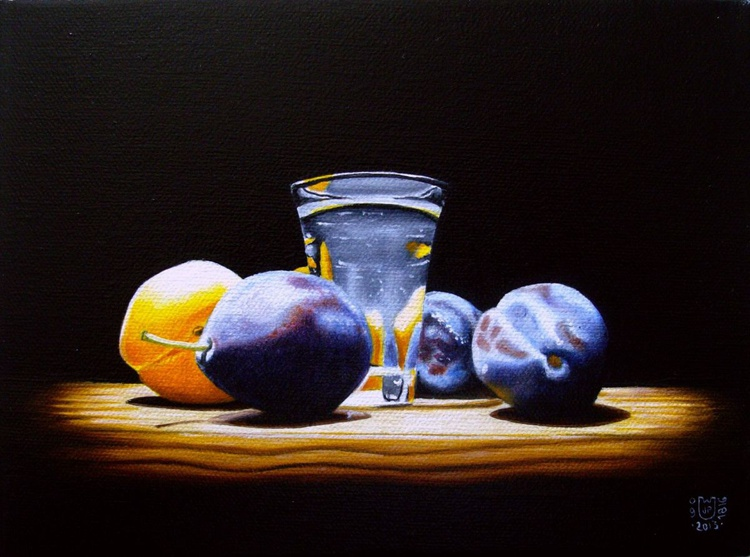 Apricots and damsons with shot glass - Image 0
