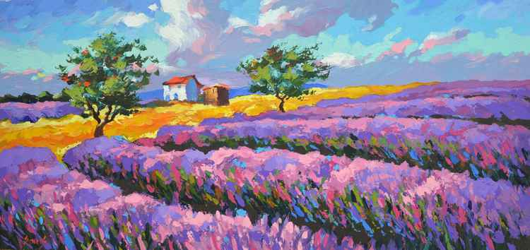 Lavender blues - Dmitry spiros painting, oil painting, home decor, wall art, wall decor, home decor,  canvas art, painting on canvas, Size: 110cm x 50cm -