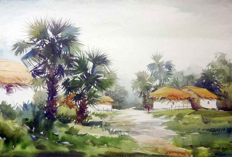 Rural Village & Palm Trees - Watercolor Painting