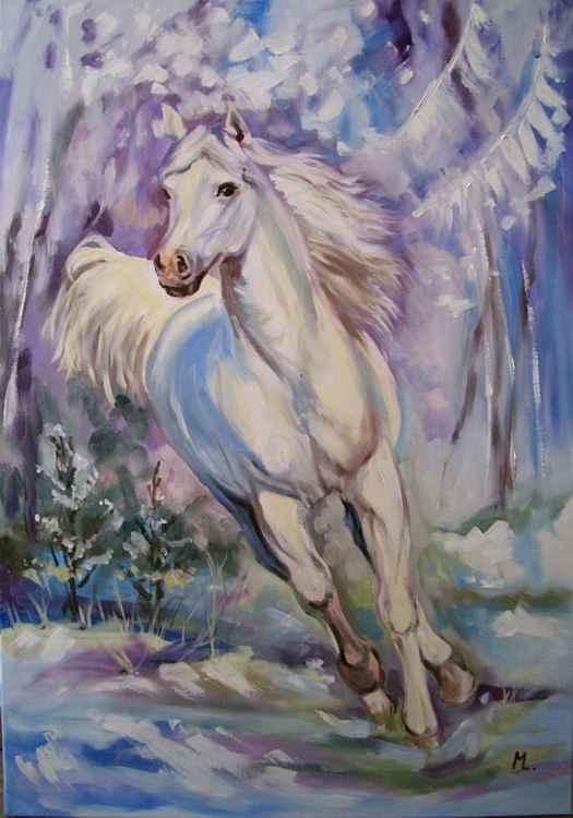 """ MY WHITE HORSE... "" 100x70cm"