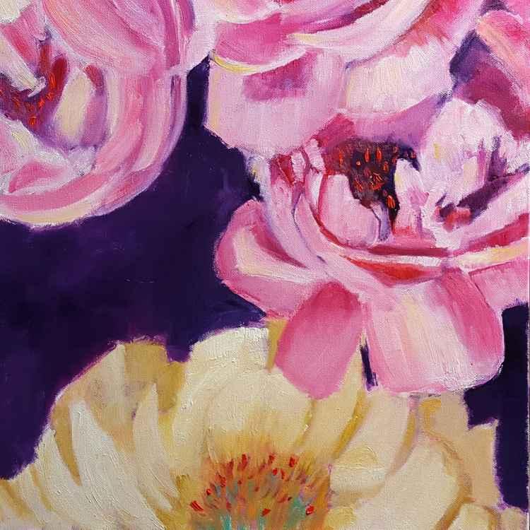 Bright pink peonies -