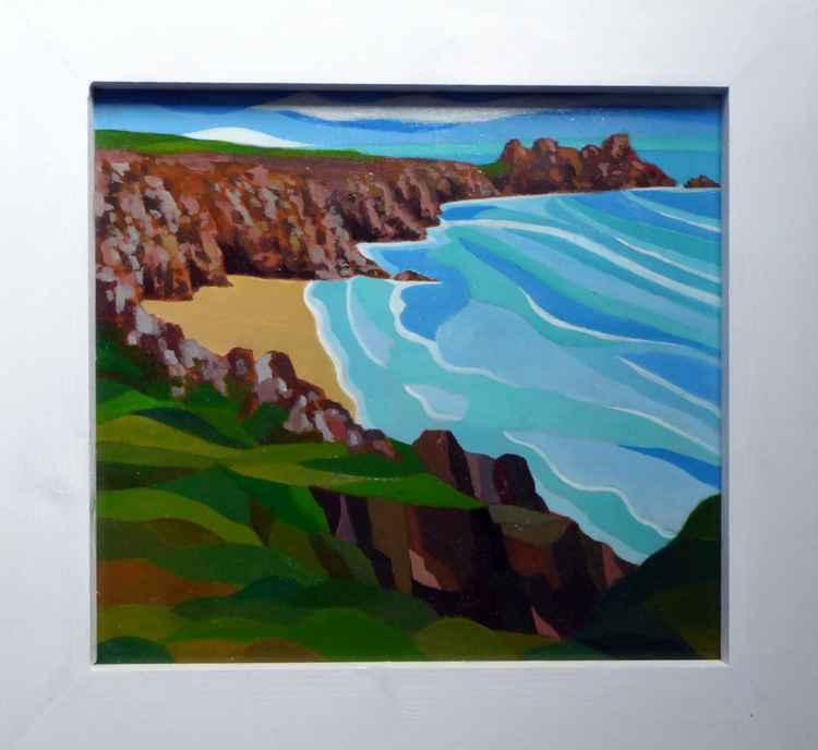Pedn Vounder beach and Teryn Dinas, Porthcurno. -